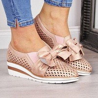 Women's Hollow Out Bow Tie Wedge Sandals
