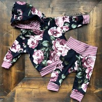 US Newborn Infant Baby Boy Girl Hooded Tops Sweatshirt Pants Outfits Clothes Set