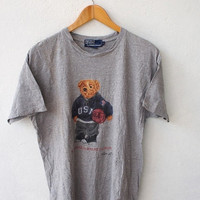 BIG SALE 25% POLO Ralph Lauren 90's Vintage Hip Hop Rap Usa Bear Play Basketball Nba Swag Gray T Shirt Size S