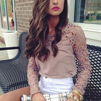 Lace Hollow Out Women Blouse Blusas Fashion Autumn Winter Blouse Long Sleeve Career Clothing Chiffon Top Ladies Plus Size RY0323