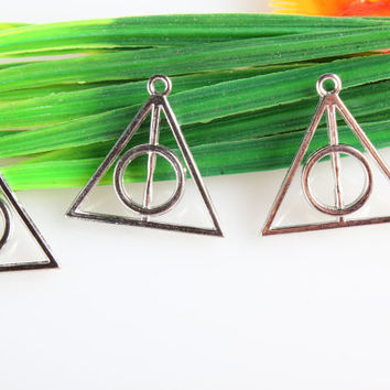 Wholesale~1 pcs/ Antique Silver Harry Potter the Deathly Hallows Charms Connectors  Alloy connector pendant Jewelry  32*32mm C4250