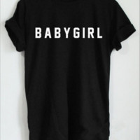 [BABYGIRL] English alphabet short-sleeved T-shirt men and women with the same paragraph