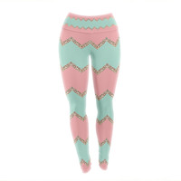 "Monika Strigel ""Avalon Soft Coral and Mint Chevron"" Orange Green Yoga Leggings"
