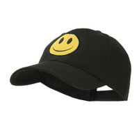 Smiley Face Embroidered Cap - Black OSFM