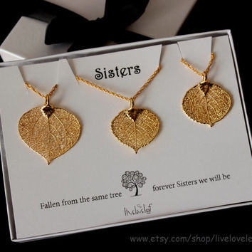 Sisters jewelry - matching Gold Aspen Leaf Pendants for 3 sisters, set of 3 leaf Necklaces Genuine Aspen Leaf dipped leaves, Mothers day