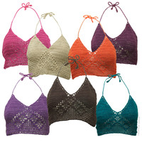 Solid Crochet Halter Tank Top on Sale for $19.99 at HippieShop.com