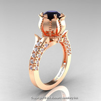 Classic 14K Rose Gold 1.0 Ct Black and White Diamond Solitaire Wedding Ring R410-14KRGDBD