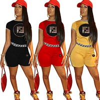 Fendi New fashion sequin letter top and shorts two piece suit women