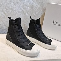 DIOR D-line. Pattern lace up flat bottomed casual shoes