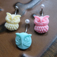 Pastel Owl Belly Button Ring Navel Piercing Jewelry Stud Cream Yellow Mint Green Pink