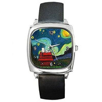 """Snoopy on """" Starry Starry Night """" by Van Gogh  Square Watch with Leather Band"""