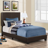 Bed - Twin Size / Dark Brown Leather-Look Fabric