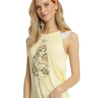Disney Beauty And The Beast Belle Lace Sleeve Girls Tank Top