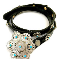 Sterling Silver & Turquoise Concho Belt, Large Buckle, Studded Narrow Black Leather Belt, Stamped Designs, 159 grams, Boho, Gift for Her