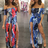 Summer Beach Slash Shoulder Party Dress NEW Clothing Women Ladies Clothing Dresses Maxi Boho Floral Women