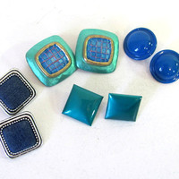 vintage costume jewelry lot of blue clip on earrings // 4 pairs