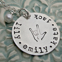Hand Stamped Necklace  Sign Language Necklace ASL I Love You Necklace