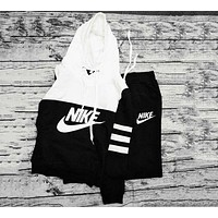 "Womens ""NIKE"" Print Hoodies Top Sweater Pants Sweatpants Set Two-Piece Sportswear F"