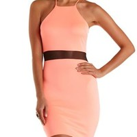 Neon Coral Neon Mesh Cut-Out Bodycon Dress by Charlotte Russe