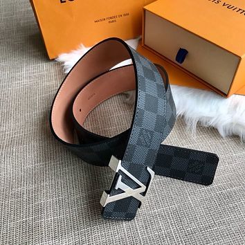 lv louis vuitton womens mens fashion smooth buckle belt leather belt monogram leather belt 71