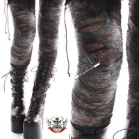 Punk Torn Distressed Broken Hole Ashy Gray Verdigris Tie Dye Mummy Legging Larp