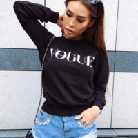 """VOGUE"" Letters print Round neck long sleeve sweater top"