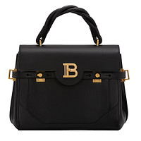Balmain B-Buzz 30 Black Twisted Handle Smooth Leather Tote Bag