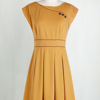 Vintage Inspired, 60s, Mod, Scholastic Mid-length Sleeveless Fit & Flare Topiary Tour Dress in Marigold