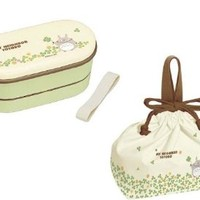 Bento Lunch Box : Studio Ghibli My Neighbor Totoro Clover Lunch Box (2 Food Containers, Chopsticks & Belt) with Bag