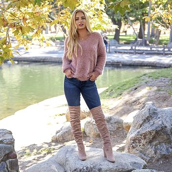 Thigh High Over The Knee Heel Boots In Taupe