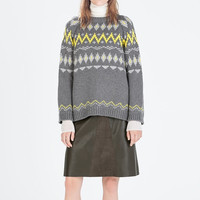 Gray Long Sleeve Knitted Jacquard   Pullover Sweatshirt