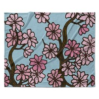 "Art Love Passion ""Cherry Blossom Day"" Floral Illustration Fleece Throw Blanket"