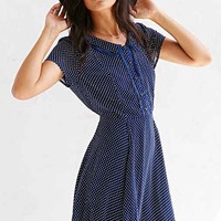 Lucca Couture Lace-Trim Open-Back Fit + Flare Dress-