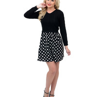 Black & White Dotted Two Tone Saline Flare Dress