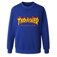 Thrasher Autumn and winter sweater male sportswear Blue+(Yellow Letters)