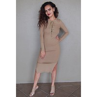 Bombshell Beige Lace Up Long Sleeve Bodycon Midi Dress
