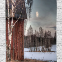 Moonlight House Trees Country Winter View Digital Printed Tapestry Wall Hanging Wall Tapestry Living Room Bedroom Dorm Decor, Gray Brown Beige