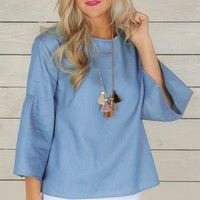 Belle of Spring Top-Chambray
