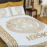 Versace Bedding Set Bedroom Duvet Cover Sheet Pillowcases Queen 100% Cotton Gold