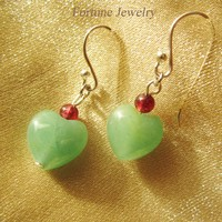 Elegant Love Heart Green Jade with Garnet Beads Sterling Silver Hook Earring