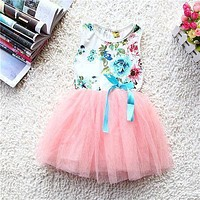 2017 New Summer Girls Baby Kids Dress Toddlers Floral Print dress Bow Sleeveless Tutu Dresses Children's clothing Vestidos Hot