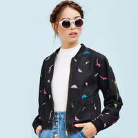 Black Dinosaur Embroidered Cuff Zipper Denim Jacket