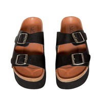 Phoebe Buckled Slide Sandals
