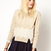 Girl.by Band of Outsiders Wool Jumper with Lace Detail at asos.com