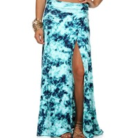 Sale-tie Dye High Slit Maxi Skirt