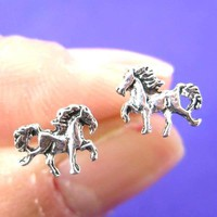 Detailed Horse Pony Animal Shaped Stud Earrings in Sterling Silver