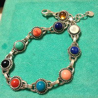 """Vintage Quoc Turquoise Bracelet Adjustable Lapis Sodalite Coral Onyx Amber Chalcedony MOP Pearl 7.25"""" 8.25"""" Navajo Jewelry Southwestern"""