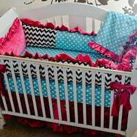 Custom Baby Bedding 3 pc Crib Set, Turq Girly Dot Baby Bedding