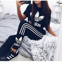 "Hot Sale ""Adidas"" Classic Stylish Women Print Stretch Exercise Fitness Pants Trousers Leggings Sweatpants T-Shirt Top Tee I"