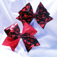 Cheer Bow- Black with red hearts bow-Cheerleader bow- Cheerleading bow- dance bow- softball bow- cheerbow